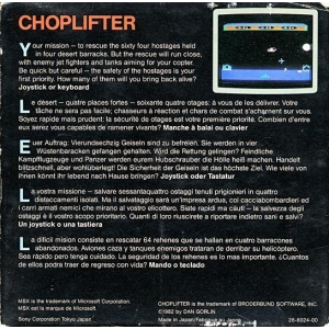 Choplifter! (1985, MSX, Brøderbund Software)
