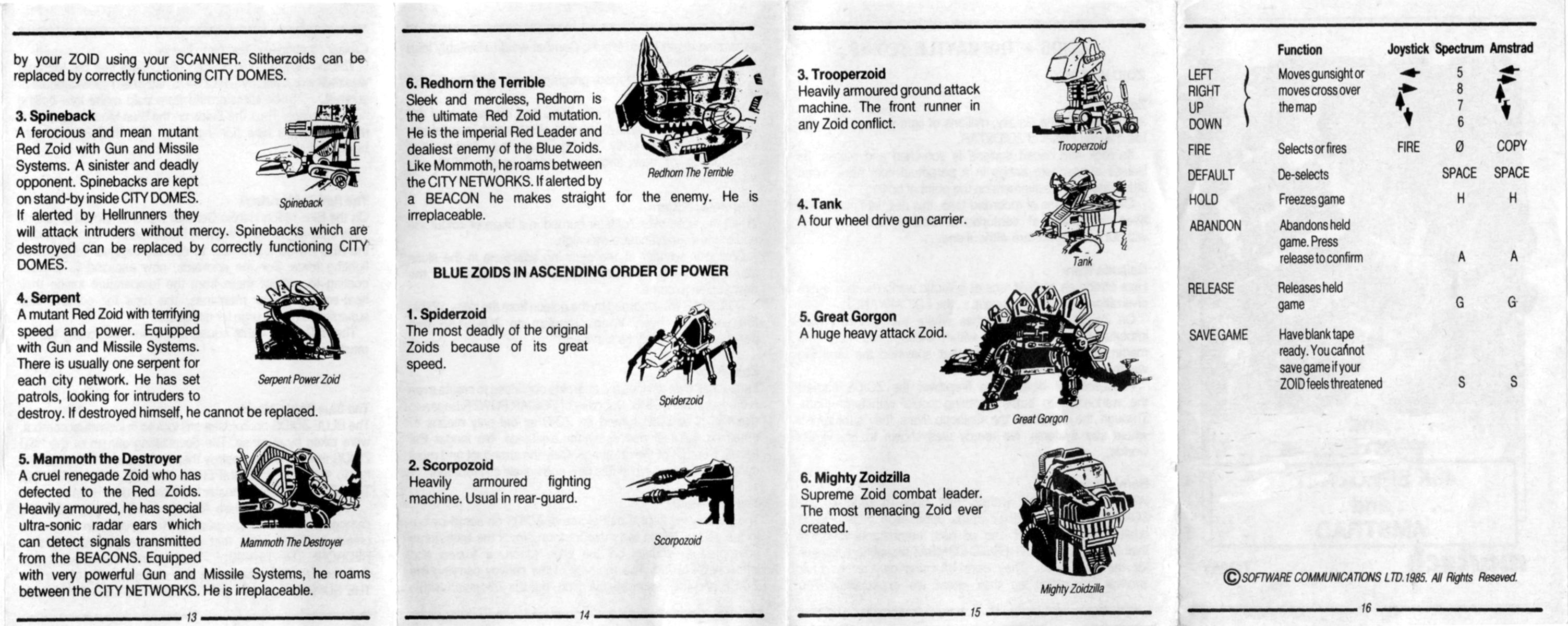 Zoids - The Battle Begins (1985, MSX, Martech Games