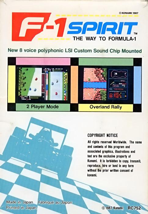 F-1 Spirit: The Way to Formula 1 (1987, MSX, Konami