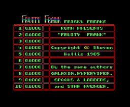 Fruity Frank (1985, MSX, Steven Wallis)