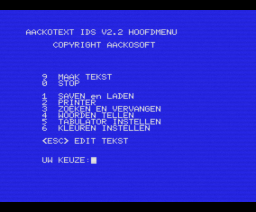 Aackotext II (1985, MSX, The Bytebusters)