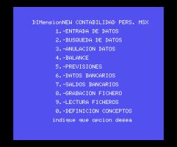 Contabilidad Doméstica (1985, MSX, DIMensionNEW)