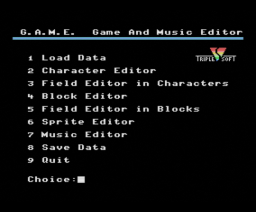 Game And Music Editor (1991, MSX, Triple Soft)