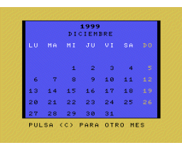 Calendario perpetuo (1986, MSX, L. A. Martinez Amago)