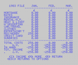 Home Budget (1984, MSX, A. J. Pack, S. E. Pack)