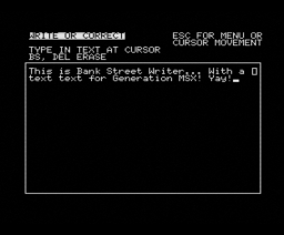 Bank Street Writer (1985, MSX, Brøderbund Software)