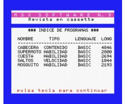 MSX Software Nº9 (1986, MSX, Grupo de Trabajo Software (G.T.S.))