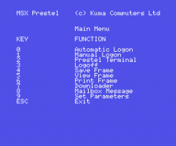 Communications with VIEWDATA (1984, MSX, Kuma Computers)