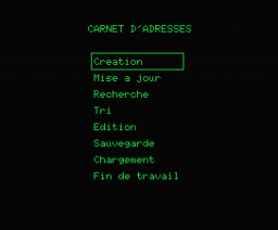 Carnet d'Adresses (1985, MSX, Power Soft)