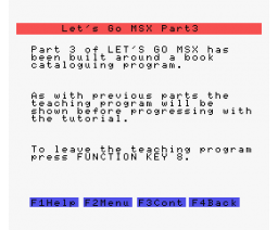 Let's Go MSX - Part 3 (1984, MSX, SoftCat)