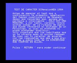 Test de Carácter (1984, MSX, DIMensionNEW)
