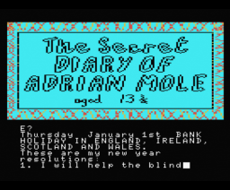The Secret Diary of Adrian Mole Aged 13¾ (1985, MSX, Level 9 Computing)