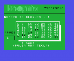 Lotería Primitiva (MSX, Edit Soft)