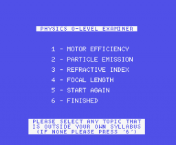 Physics 'O' Level Examiner (1984, MSX, Shield Software)