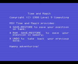 Time and Magik (1988, MSX, Level 9 Computing)