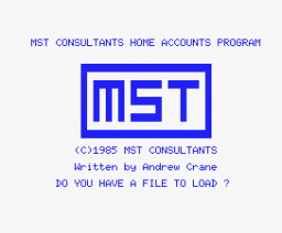 Home Accounts (1985, MSX, MST Consultants)