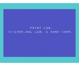 Print Lab (1985, MSX, Sony, HAL Laboratory)