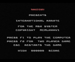 International Karate (1986, MSX, Endurance Games)