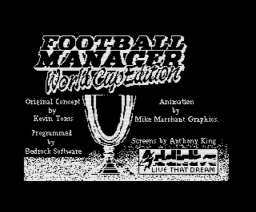 Football Manager World Cup Edition 1990 (1990, MSX, Addictive Games)