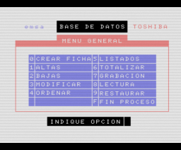Base de Datos (MSX, Toshiba)