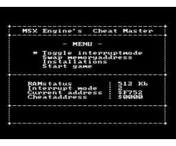 Cheat Master (1992, MSX2, MSX-Engine)