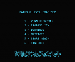 Maths 'O' Level Examiner (1984, MSX, Shield Software)