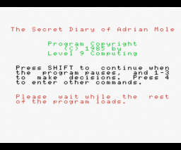 The Secret Diary of Adrian Mole (1985, MSX, Level 9 Computing)