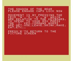 Shadow of the Bear (1985, MSX, D. Amies)
