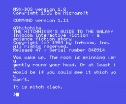 The Hitchhiker's Guide to the Galaxy (1984, MSX, Infocom)