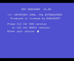 Debugger (1986, MSX, The Bytebusters)