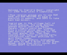 Ingrid's Back! (1988, MSX, Level 9 Computing)