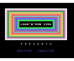 Gestion Familiar (1986, MSX, Load 'n' Run)