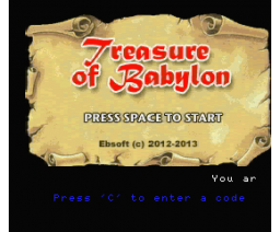 Treasure of Babylon (2013, Turbo-R, Ebsoft)