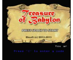 Treasure of Babylon (2013, Turbo-R, Ebsoft)