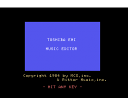 Music Editor (1984, MSX, Rittor Music / MCS)