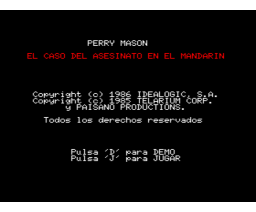 Perry Mason: The Case of the Mandarin Murder (1986, MSX2, Telarium)