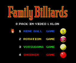 Family Billiards (1987, MSX2, KLON)