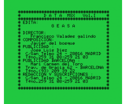 Data MSX Vol. I (1985, MSX, GEASA)