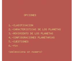 Aprende astronomía con los planetas (1986, MSX, Grupo de Trabajo Software (G.T.S.))
