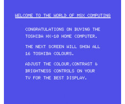 Toshiba Home Computer HX-10 Sample Program (1984, MSX, Toshiba)
