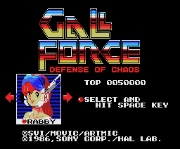 Gall Force - Defense of Chaos (1986, MSX, Sony, HAL Laboratory)