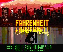 Fahrenheit 451 (1986, MSX2, Byron Preiss, Telarium)