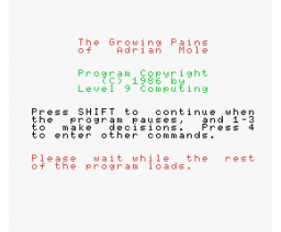 Sue Townsend´s The Growing Pains of Adrian Mole  (1987, MSX, Level 9 Computing)