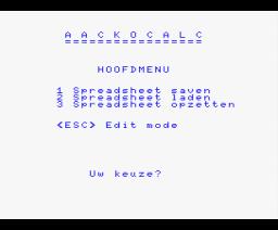 Aackocalc (1985, MSX, Aackosoft)