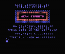 Mean Streets (MSX, Kuma Computers)