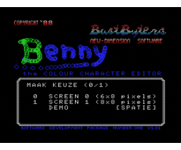Benny - Colour Character Editor (1988, MSX, New Dimension Software)
