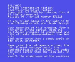 Ballyhoo (1986, MSX, Infocom)