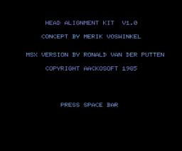 Head Alignment Kit (1985, MSX, Aackosoft)