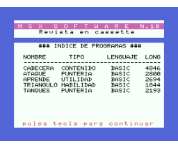 MSX Software Nº10 (1986, MSX, Grupo de Trabajo Software (G.T.S.))