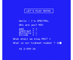 Maths (1984, MSX, Spectravideo (SVI))